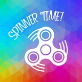 Spinner Time with finger spinner silhouette over triangular background. Color flow effect Stock Image