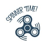 Spinner time text with trendy stress relieving toy isolated on white background. Symbol for your web site design, logo, app Royalty Free Stock Photos