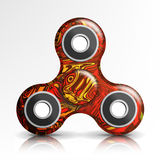 Spinner Toy Vector. Bright Plastic Fidgeting Hand Toy For Stress Relief And Improvement Of Attention Span. Rotation. Fidget Finger Royalty Free Stock Photos