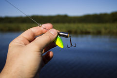 Spinner with a triple hook for fishing Stock Photos