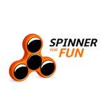 Spinnerlogodesign Unterhaltsames Spielgerät, einfacher Mechanismus für Fan, beruhigend Illustration EPS10 des Vektors 3d Lizenzfreie Stockfotos
