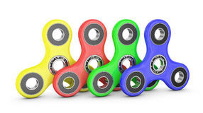 Spinners  with bearings. Spinners of different colors with ball bearings. 3d rendering Royalty Free Stock Photos