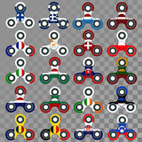 Spinners with European Flags on Transparent Background Royalty Free Stock Images