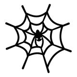 Spinneweb en spin Royalty-vrije Stock Foto's