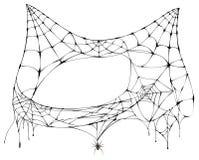 Spinneweb voor Halloween als katten hoofdsilhouet royalty-vrije stock foto's
