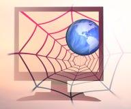 Spinneweb wereldwijd Royalty-vrije Stock Afbeeldingen