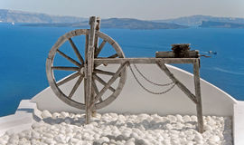 Spinnewiel in Oia, Santorini, Griekenland Royalty-vrije Stock Foto