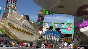 Spinning, Amusement Park Rides, Fun, Leisure. Stock video of spinning rides stock video