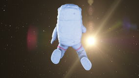 Spinning Astronaut in open space. Seamless looping 3d animation. full HD 1080 stock video footage