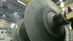 Spinning balancing steam turbine stock video footage