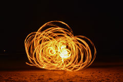 Spinning Burning Poi Royalty Free Stock Photography