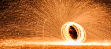 Spinning burning steelwool Royalty Free Stock Images