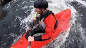 360 spinning camera, whitewater kayaker stock video