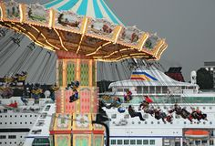 Spinning Carousel before cruise-ship Royalty Free Stock Photo