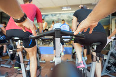 Spinning class at gym Royalty Free Stock Photos