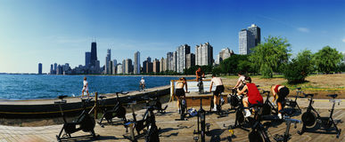 Spinning class on North Avenue Beach Stock Photo