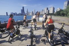 Spinning class on North Avenue Beach, Lake MI, Chicago, Illinois Royalty Free Stock Photography