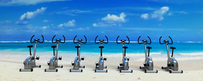 Spinning class in paradise Stock Images