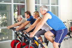 Spinning class with senior people in gym Stock Photography