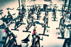 Free Spinning Class With Empty Bikes Royalty Free Stock Photography - 56566057