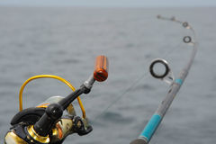 Spinning close-up. In the hands of a fisherman at sea Stock Photo