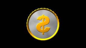 Spinning coin with money sign stock footage