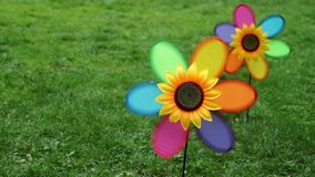 Spinning colorful pinwheel wind toys, Wind spinner - Closeup  stock footage