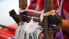 Spinning cotton fibers. stock video