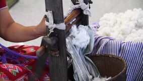Spinning cotton fibers. stock footage