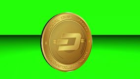 Spinning of cryptocurrency Dash coin on green screen surface background royalty free illustration