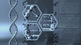 Spinning DNA molecules blue motion background. Genetic research, medical laboratory or molecular diagnostics concepts