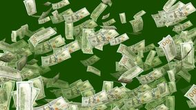 Spinning Dollars in Green Background. An optimistic 3d illustration of spinning American one-hundred-dollar banknotes in the green background. They whirl and royalty free illustration