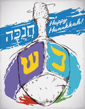 Spinning Dreidel in Hand Drawn Style and Brushstrokes for Hanukkah, Vector Illustration Royalty Free Stock Photography