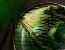 Spinning Earth Globe ( green ) Stock Photos