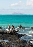 Spinning fisherman in Corralejo on Fuerteventura, Stock Images