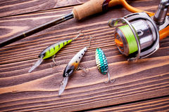 Spinning fishing and bait Royalty Free Stock Image