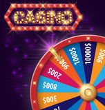 Spinning fortune wheel, Internet casino banner with glowing lamps for online casino, poker, roulette, slot machines Stock Photography