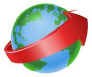 Spinning globe arrow illustration Royalty Free Stock Photography