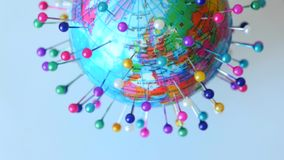 Spinning Globe Earth With Pins stock video footage