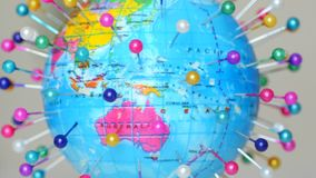 Spinning Globe Earth With Pins stock footage