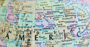 Spinning globe map of Nebraska USA 4K. Spinning globe map focus on Nebraska United States of America in the middle stock video