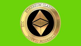 Spinning golden Ethereum classic ETC coin. Golden coin Ethereum classic cryptocurrency spinning in perfect loop isolated on green background. 4K video. 3D