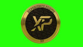 Spinning golden Experience Points XP coin stock footage