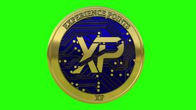 Spinning golden Experience Points XP coin stock video