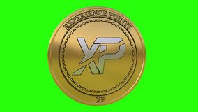 Spinning golden Experience Points XP coin stock video footage