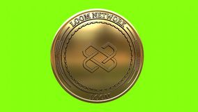 Spinning golden Loom Network LOOM coin. Golden coin Loom Network LOOM cryptocurrency spinning in perfect loop isolated on green background. 4K video. 3D