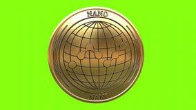 Spinning golden NANO NANO coin stock video