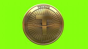 Spinning golden Tether USDT coin stock video footage