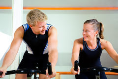 Spinning in the gym Royalty Free Stock Photography