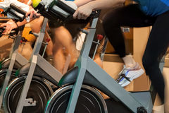 Spinning in the gym Royalty Free Stock Image